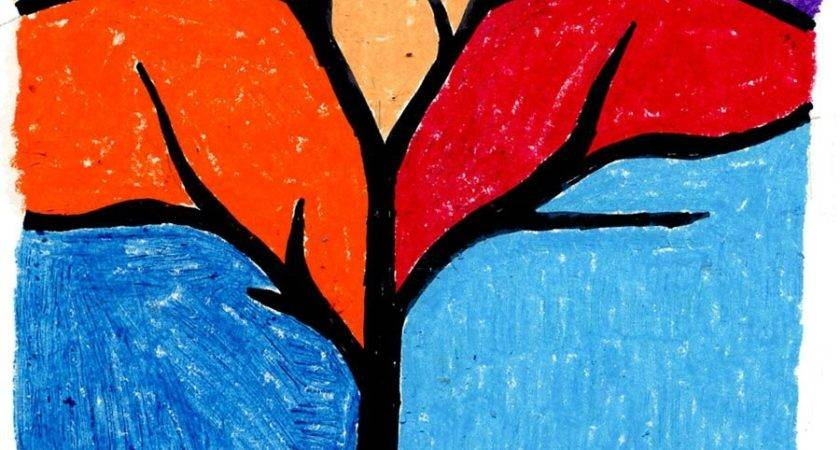 Abstract Tree Silhouette Oil Pastel Art Projects Kids