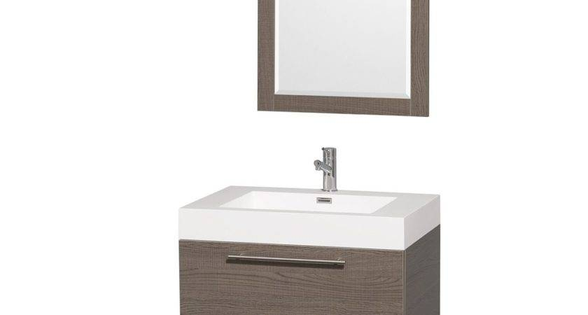 Amare Gray Oak Wall Mounted Bathroom Vanity Set