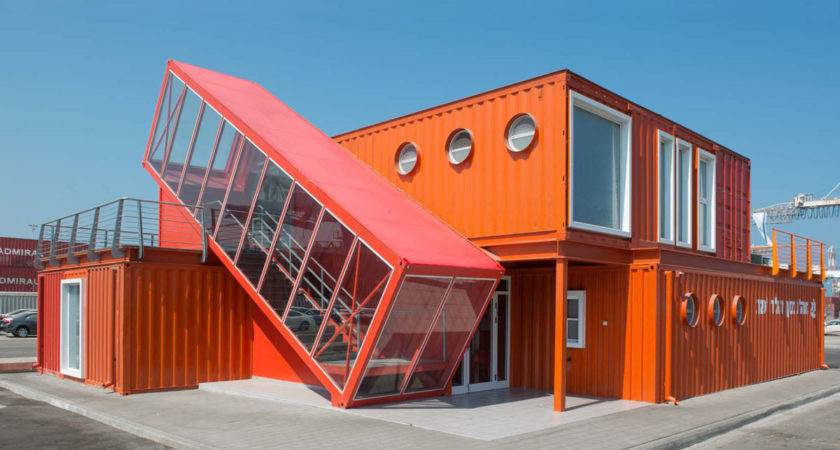 Angled Shipping Container Houses Scissor Staircase