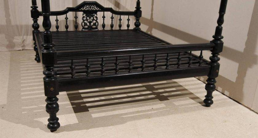 Antique Black Four Post Canopy Style Bed Stdibs