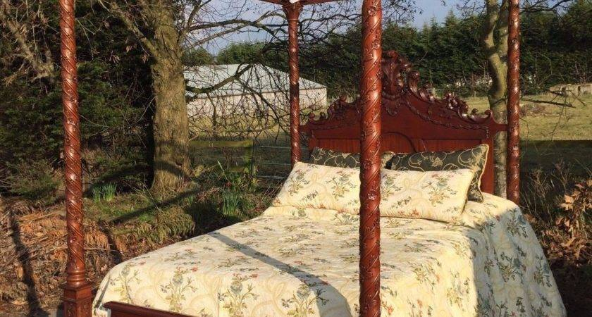 Antique Canopy Poster Bed Carved Mahogany Pure Silk