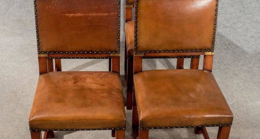 Antique Oak Leather Set Four Dining Kitchen Chairs