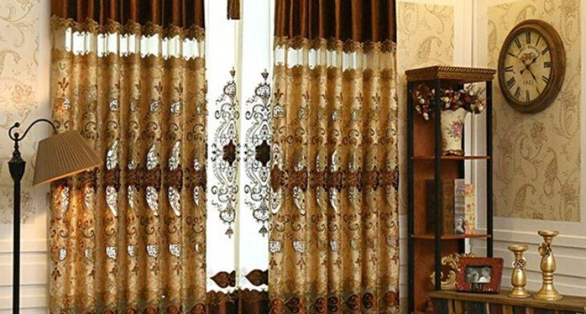 Attractive Brown Living Room Curtains Choosing
