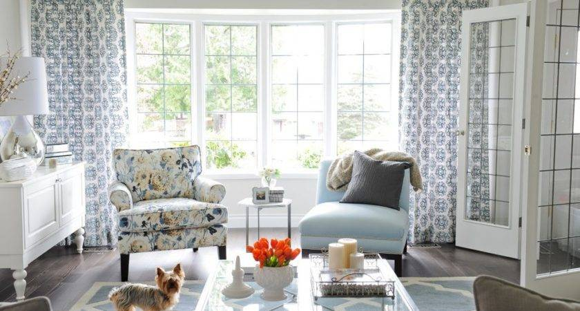 Bay Window Curtain Living Room Transitional Yorkshire
