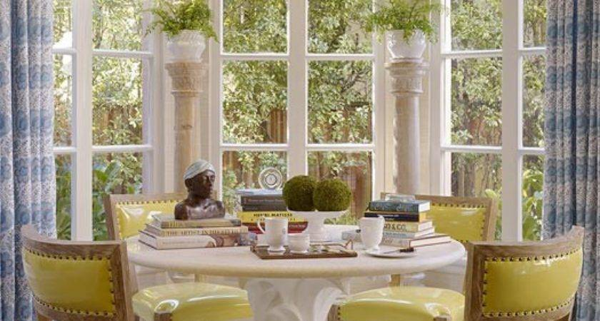 Beautiful Classic Dining Area Yellow Chairs