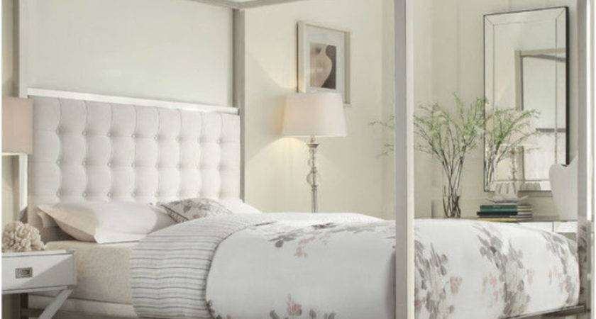 Bedroom White Wooden Canopy Beds Ruffle Fabric