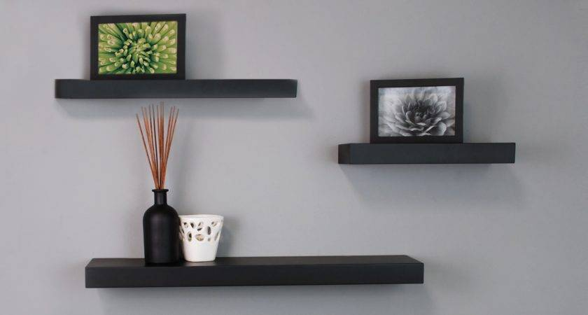 Black Floating Wall Shelves Kiera Grace Mnml Living