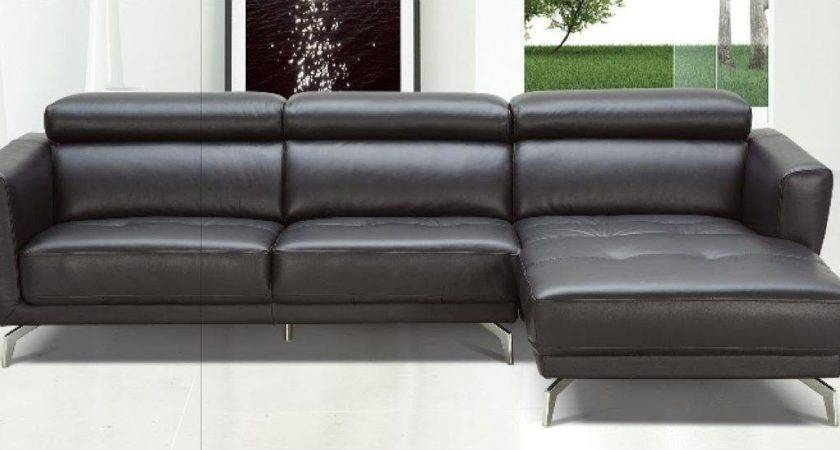 Black Leather Contemporary Sectional Sofa Tufted
