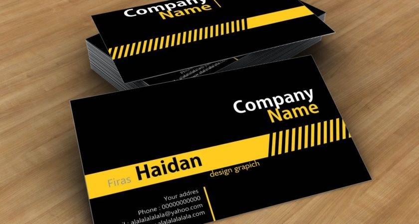 Black Yellow Stip Business Card Template Cdr