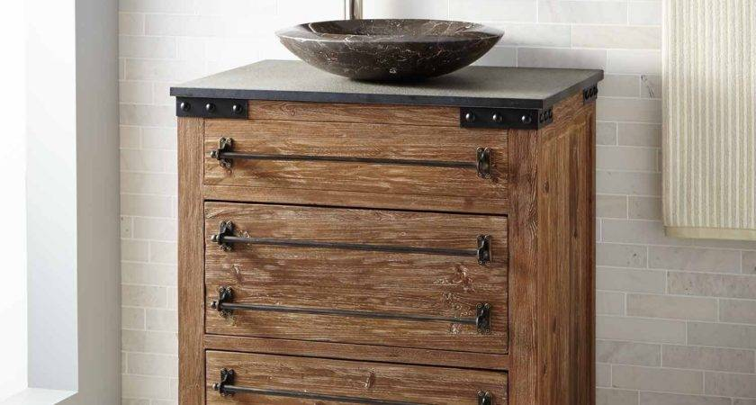 Bonner Reclaimed Wood Vessel Sink Vanity Pine Bathroom