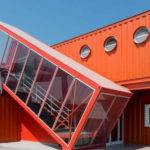 Bright Red Shipping Containers Repurposed Modern