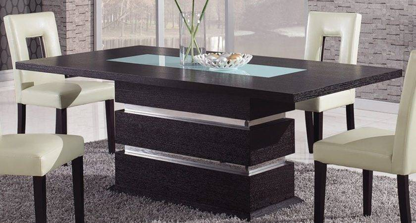 Brown Contemporary Pedestal Dining Table Glass Inlay