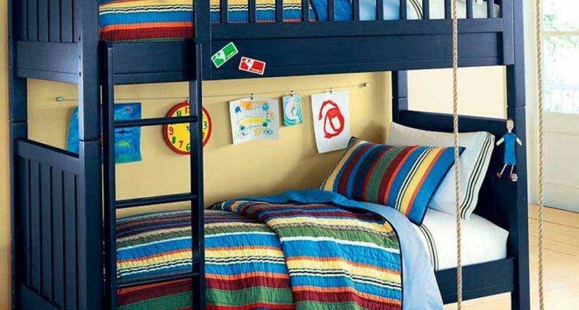 Bunk Bed Boys Blue Wooden Color Theme Stairs