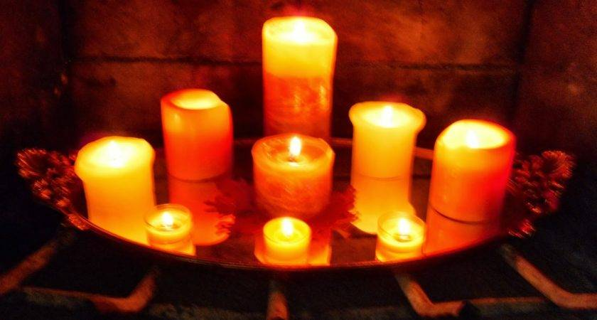 Candle Set Fireplace Fireplaces