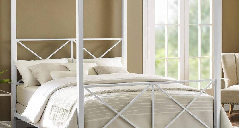 Canopy Bed Queen White Finish Metal Frame Modern