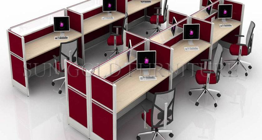 China Red Seater Call Center Workstation Cubicle