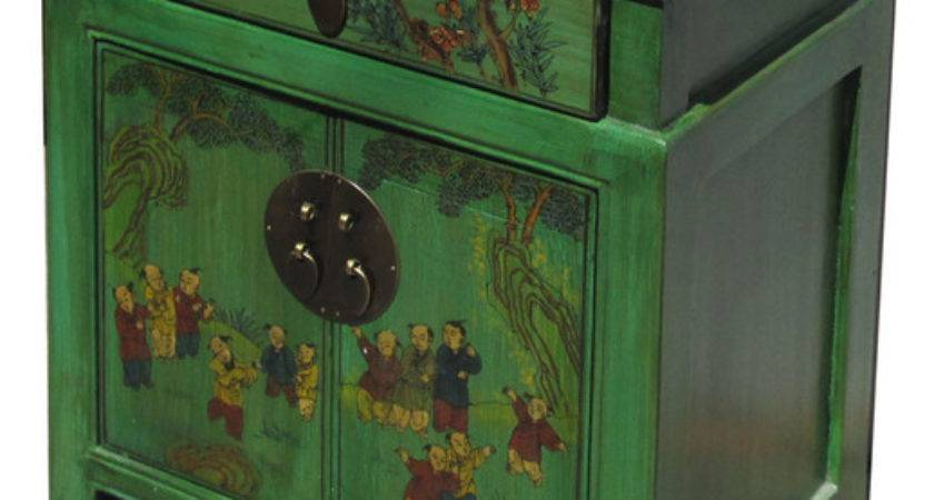 Chinese Green End Table Kids Playing Graphic Asian
