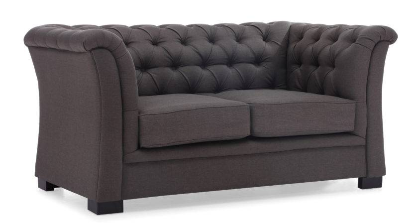 Classy Wing Tufted Charcoal Sofa Two Seater Living