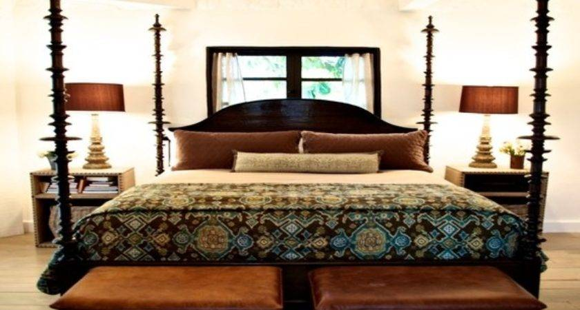 Contemporary Four Poster Beds Wood Upholstered Bed