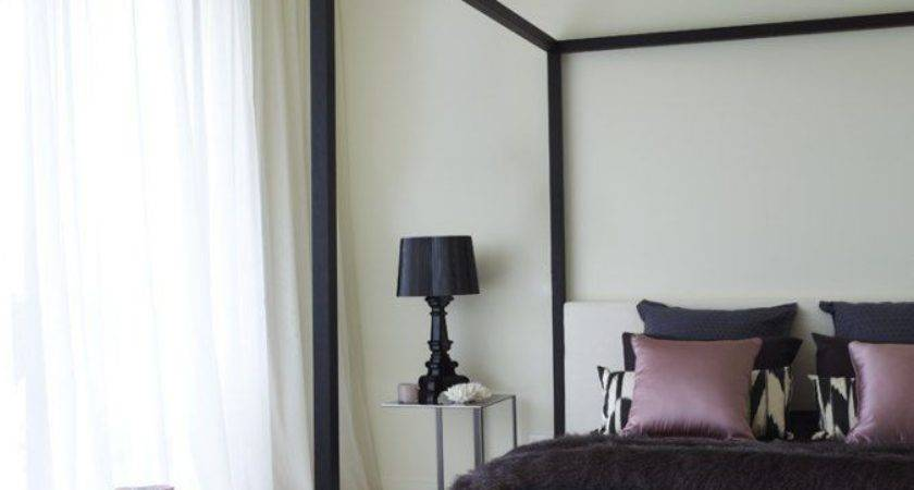 Contemporary Four Poster Canopy Bed Black