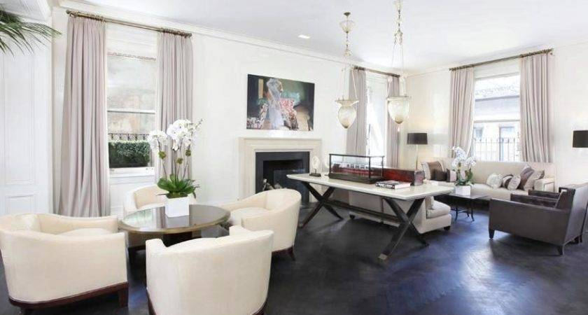 Contemporary Living Room Grey Wood Floors White