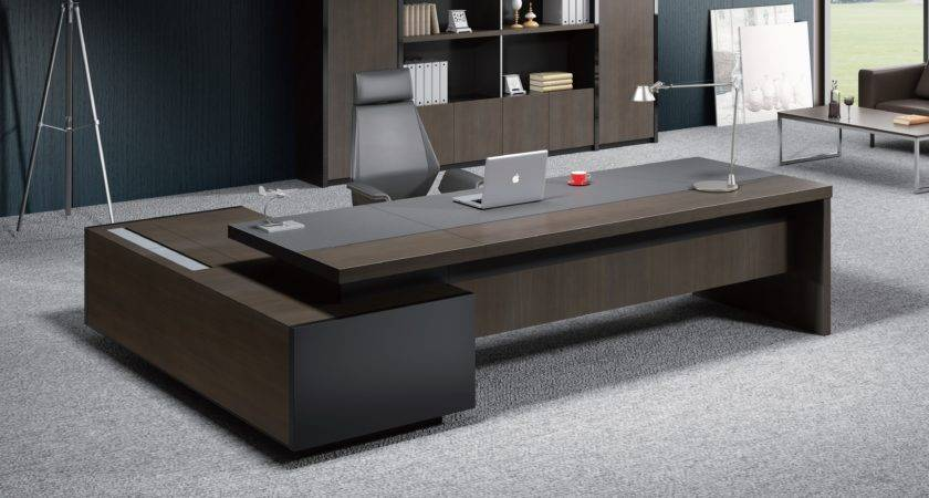 Contemporary Office Table Leather Wood Boss Cabin