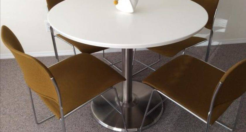 Corian Solid Surface Top Table Stainless Steel