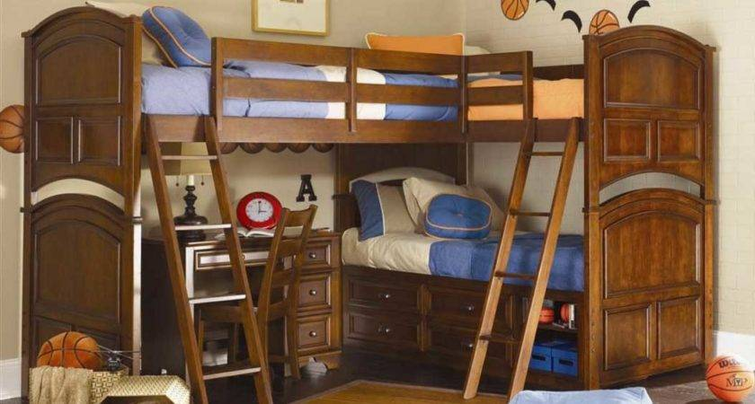 Corner Bunk Beds Boys Wooden Frame Stairs
