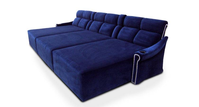 Couch Unique Blue Suede Genuine Sofa Real
