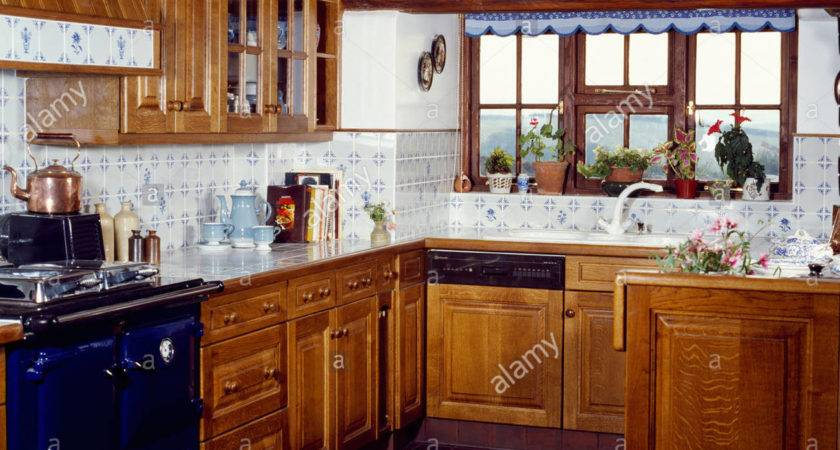 Country Kitchen Wooden Cupboards Blue White