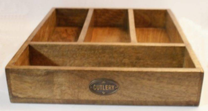 Country Kitchen Wooden Cutlery Tray