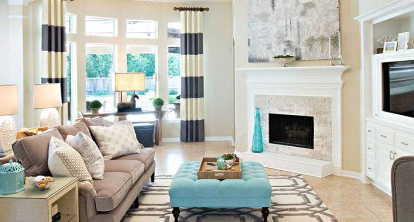 Cream Colored Living Room Pops Teal Decor