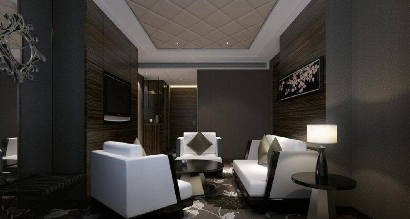 Design Dark Room White Sofas Interior