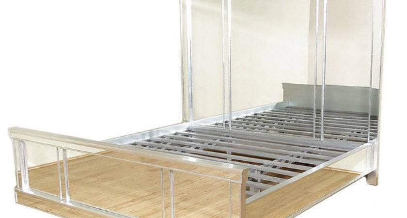 Distressed Silver Mirrored King Panel Bed Tall
