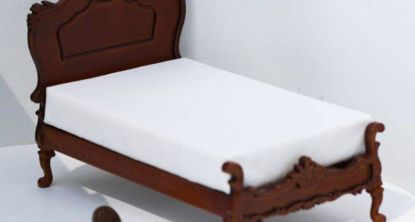 Dollhouse Miniature Hand Carved Ornate Victorian Bed