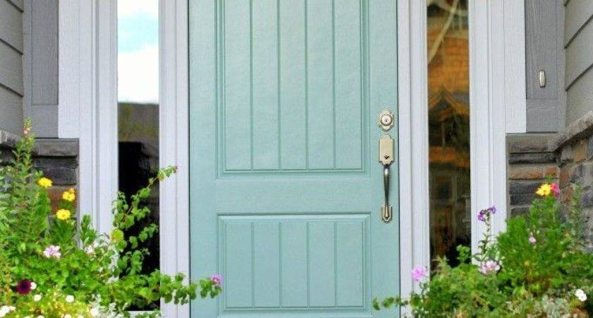 Door Nice Blue Rectangle Modern Wood Front Stained