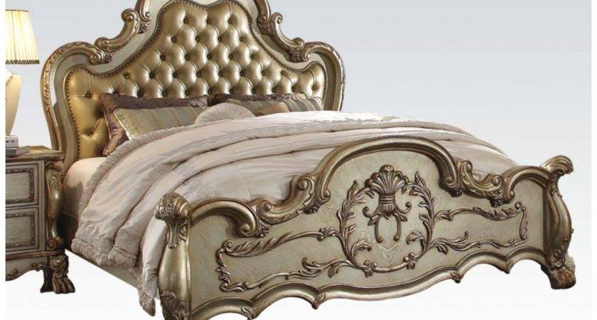 Dresden Luxury Ornate Upholstered King Bed Antique Gold