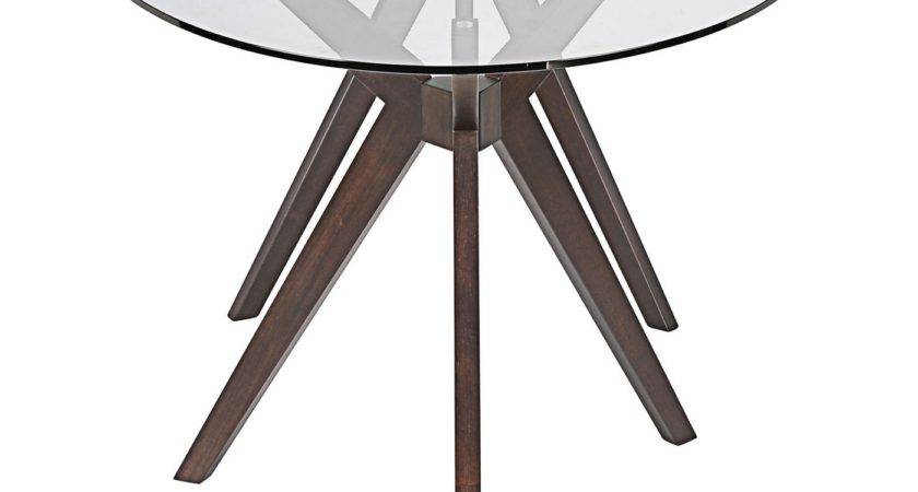 Duet Modern Glass Top Dining Table Double Tripod