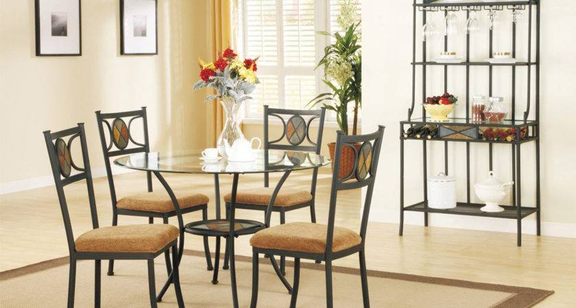 Earth Tone Dining Table Set Round Glass Top