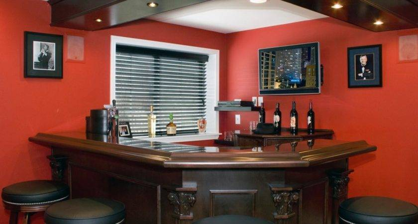 Excellent Red Accents Wall Paint Home Basement Bar