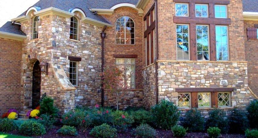 Exterior Stone Facade House Charlotte Pavers