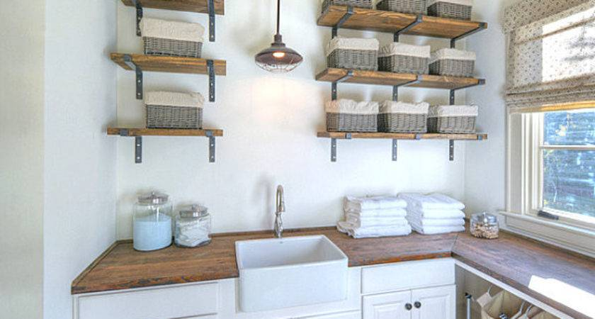 Eye Catching Laundry Room Shelving Ideas