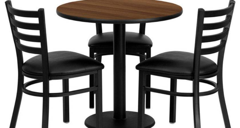 Flash Furniture Inch Round Walnut Laminate Table Set