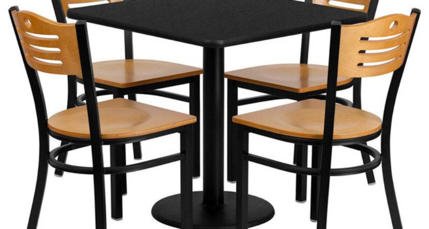 Flash Furniture Inch Square Black Laminate Table Set