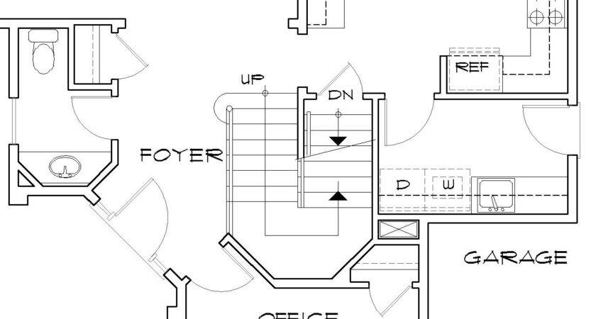 Floor Plans Basement Stairs Middle Home Building