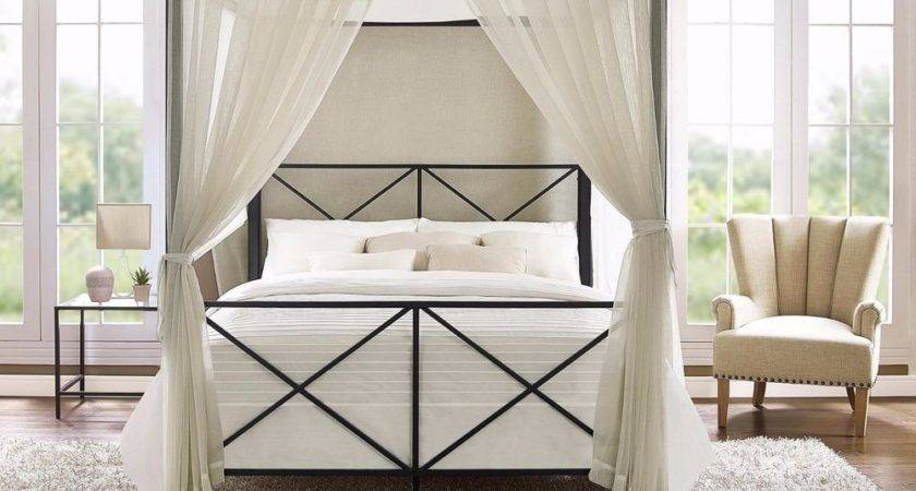Four Poster Bed Queen Tall Canopy Metal Frame Dark
