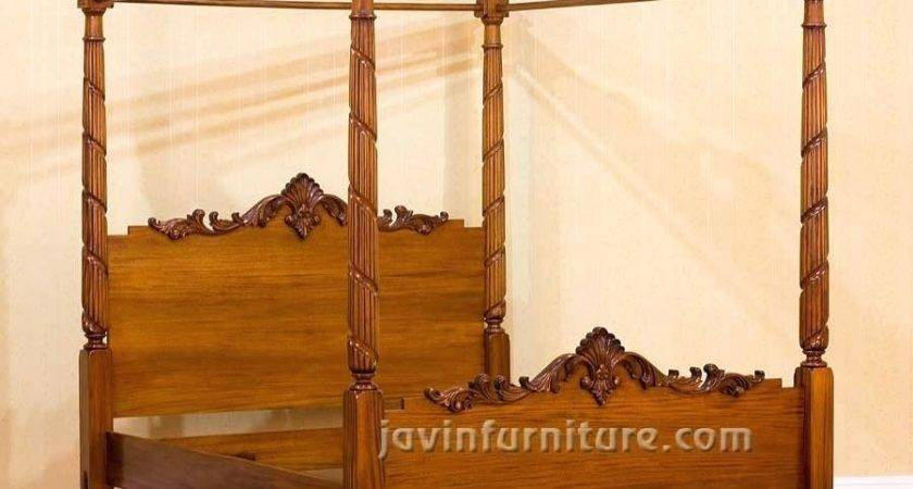 Four Poster Canopy Bed King Excellent Black Painted