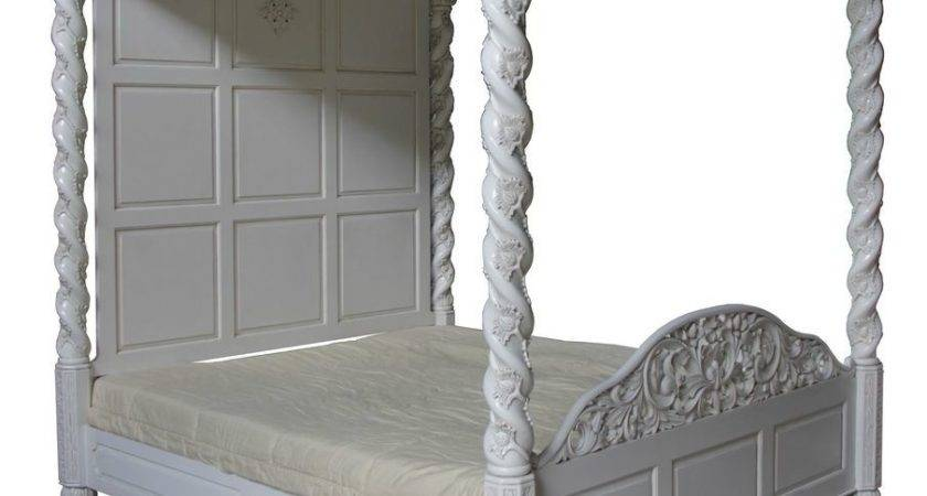 Four Poster Canopy Floral Bed Antique White