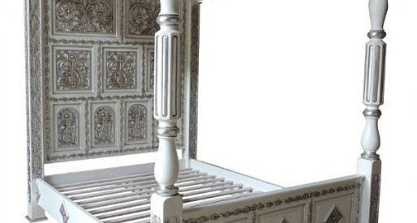 Four Poster Carved Canopy Bed White Silver
