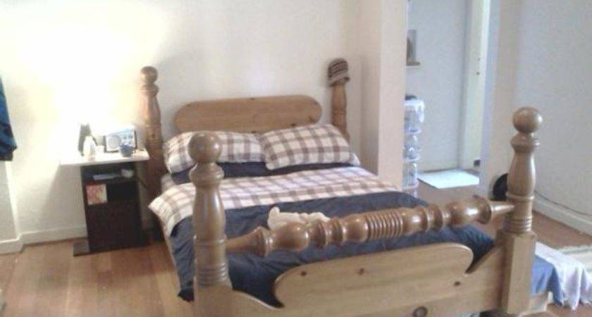 Four Poster Pine Cannonball Bed Frame Double Victoria